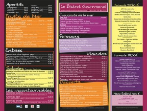 Ancienne carte Le bistrot gourmand