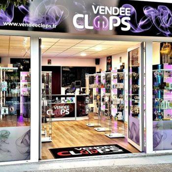 Enseigne façade Vendée Clops aux couleurs noir, violet et blanc