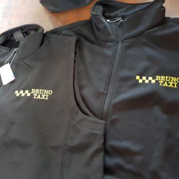 Veste noir manches longues bruno taxi en jaune et une veste manche courte avec bruno taxi en jaune